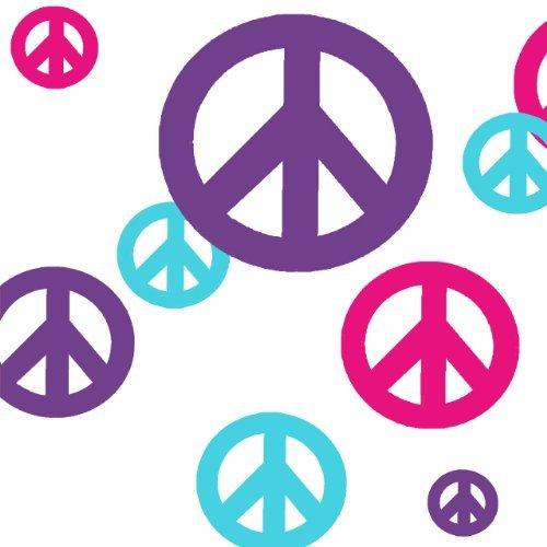 Signo de paz adhesivos para pared - (de 61) rosa caliente, Teal y Morado vinilo pelar y pegar apliques'