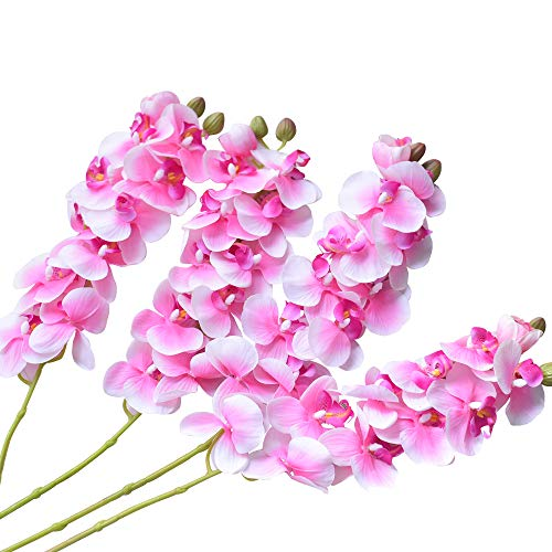 (Ivalue 4PCS Artificial Orchid Stems Real Touch Phalaenopsis Orchids Flowers Pink Fake Flower Branches 28