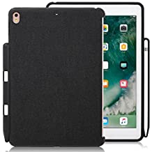 iPad Pro 10.5 Case, LUVVITT [GABBANA] Back Cover with Pencil Holder Compatible with Smart Keyboard and Apple Smart Cover - Heather Black
