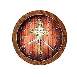 Woodgrain Cross Alarm Clock for Home Decor 5