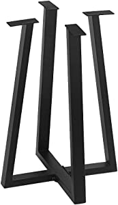 """Metal Furniture Legs Industrial Dining Table Legs,Metal Legs for DIY Coffee Table Furniture Bench,Black Cast Iron Coffee Table Legs 28""""Height 19.68""""Wide,Rustic Heavy Duty Square Tube Desk Legs 2 Pcs"""