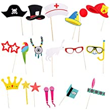 MonkeyJack Pack of 20 Halloween Photo Booth Props Set Hat Glasses Family Party Mask Sign