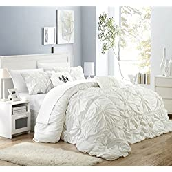 Chic Home Halpert 6 Piece Comforter Set Floral Pinch Pleated Ruffled Designer Embellished Bedding with Bed Skirt and Decorative Pillows Shams Included, King White
