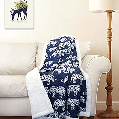 Lush Decor Elephant Parade Sherpa Throw, 60 x 50 , Navy