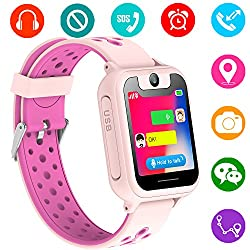 Kids GPS Tracker Watch for Boys Girls - Smart Wrist Watch with GPS Location SOS Alarm Clock Digital Watch Camera Flashlight Games for Children Compatible with iPhone/Android (02 S6 Pink)