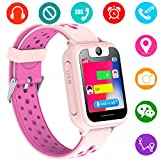 Kids GPS Tracker Watch for Boys Girls - Smart Wrist Watch with GPS Location SOS Alarm Clock Digital Watch Camera Flashlight Games for Children Compatible with iPhone/Android (01 S6 Pink)