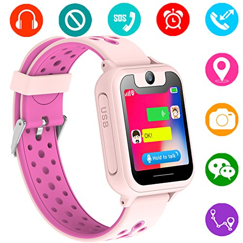 Kids GPS Tracker Watch for Boys Girls - Smart Wrist Watch with GPS Location SOS Alarm Clock Digital Watch Camera Flashlight Games for Children Compatible with iPhone/Android (01 S6 Pink) by PalmTalkHome