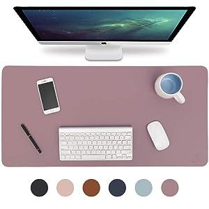 "Knodel Desk Pad, Office Desk Mat, 31.5"" x 15.7"" PU Leather Desk Blotter, Laptop Desk Mat, Waterproof Desk Writing Pad for Office and Home, Dual-Sided (35.4"" x 17"", Purple)"