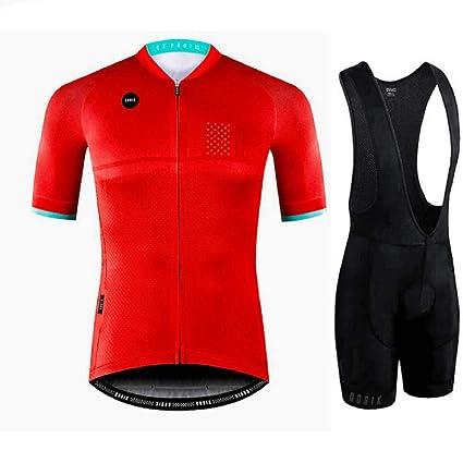 DAN Conjunto Ropa Equipacion Traje Ciclismo Hombre para Verano, Maillot Ciclismo Hombre+Culotte Ciclismo Culote Bicicleta Secar, Absorbe la Humedad, ...