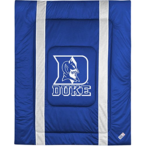 1 Piece NCAA Blue Devils Theme Comforter King, Blue White Multi Collegiate Football Themed Bedding, Sports Pattern, Team Logo Fan Merchandise Athletic Team Spirit Fan, Soft & Comfy Polyester Jersey (Comfy Feet Devils)