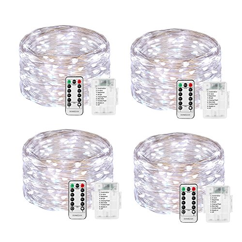 LED String Lights Battery Operated, DOMEZAN 4 Set 16.4ft 50 LED 8 Models Decorative Lights with Remote Control for Indoor, Patio, Bedroom (Silver Wire Lights, Daylight (Gazebo Lantern)