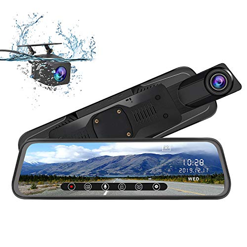 (AWESAFE Mirror Dash Cam 10 Inch Touch Screen 1080P Rear View Mirror Camera Front and Rear Dual Lens Backup Camera with G Sensor 24 Hours Parking Monitor)