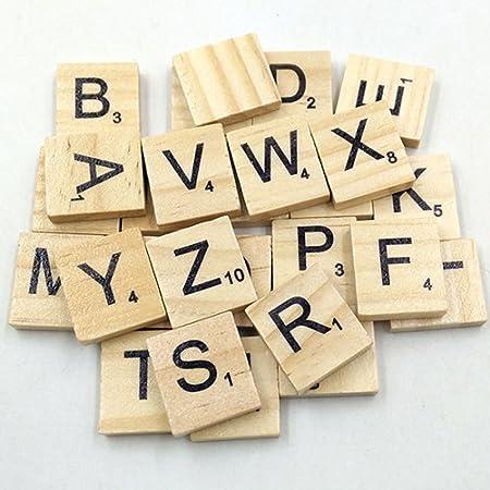 100 piezas de letras de madera del alfabeto inglés para manualidades de bricolaje niños juguete de madera qingsb: Amazon.es: Hogar