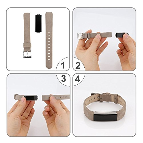 Tobfit Fitbit Alta HR and Fitbit Alta Leather Bands Replacement Leather Watch Bands With Stainless Steel Buckle for Fitbit Alta HR and Alta (Chocolate Brown+Suede Grey) by Tobfit (Image #7)