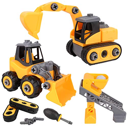Meland Construction Take Apart Trucks - 3 in 1 Assembly Construction Cars Toy Bulldozer, Excavator & Lift Play Set STEM Educational Gift for Toddlers Boys (Aged 3-10 Years Old) (Guy The Fall Truck)