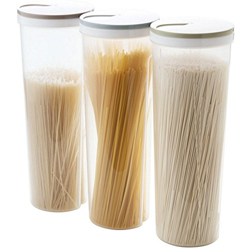 TXIN Set of 3 Cylinder Shaped Noodle Container Spaghetti Canister Cereal Crisper Nuts Beans Grain Food Storage Box