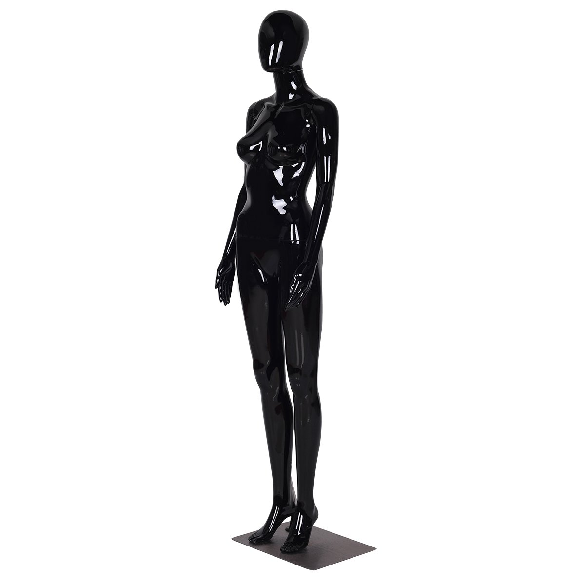 Giantex Female Mannequin Stand Dress Form Egghead Plastic Full Body Display with Base, 6 Ft (Black,Casual Two Hands Mannequin) HW55367BK
