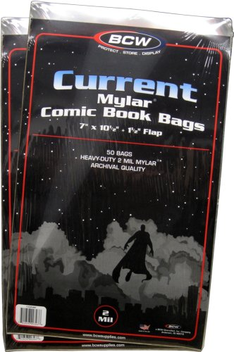 (100) Current Age Mylar Comic Sleeves - 2 Mil Thick - - 100 Bags Magazine Comic