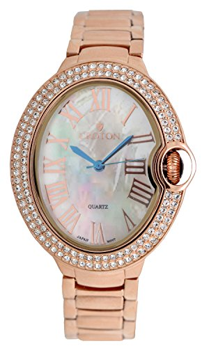 Croton Ladies Rosetone Quartz Watch with Crystal Bezel & Mother of Pearl Dial - CN207566RGMP (Bezel Croton Crystal)