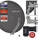 DUR-line 4 Teilnehmer Set - Qualitäts-Alu-Sat-Anlage - Select 75/80cm Spiegel/Schüssel Anthrazit + DUR-line Quad LNB - Satelliten-Komplettanlage - für 4 Receiver/TV [Neuste Technik - DVB-S/S2, Full HD, 4K/UHD, 3D]