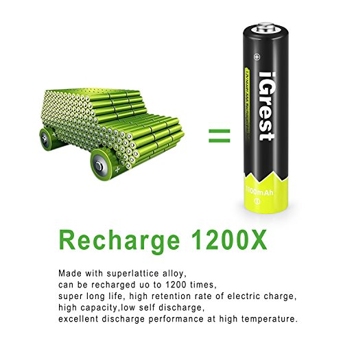 iGrest AAA Rechargeable Batteries 1100mah Ni-MH Battery (16 pack) by iGrest (Image #5)