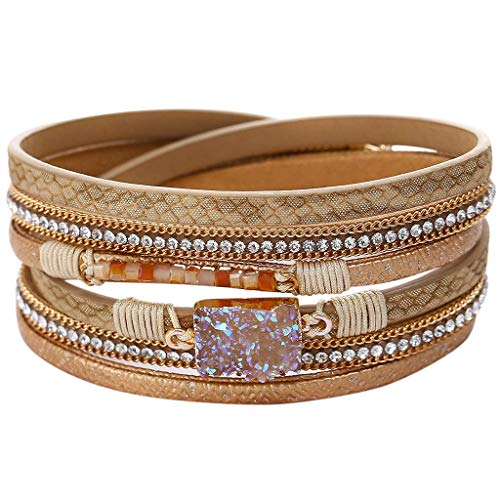 CCFAMILY Alloy gnetic Multi Layer Leather Bracelet Braided Wrap Cuff Bangle