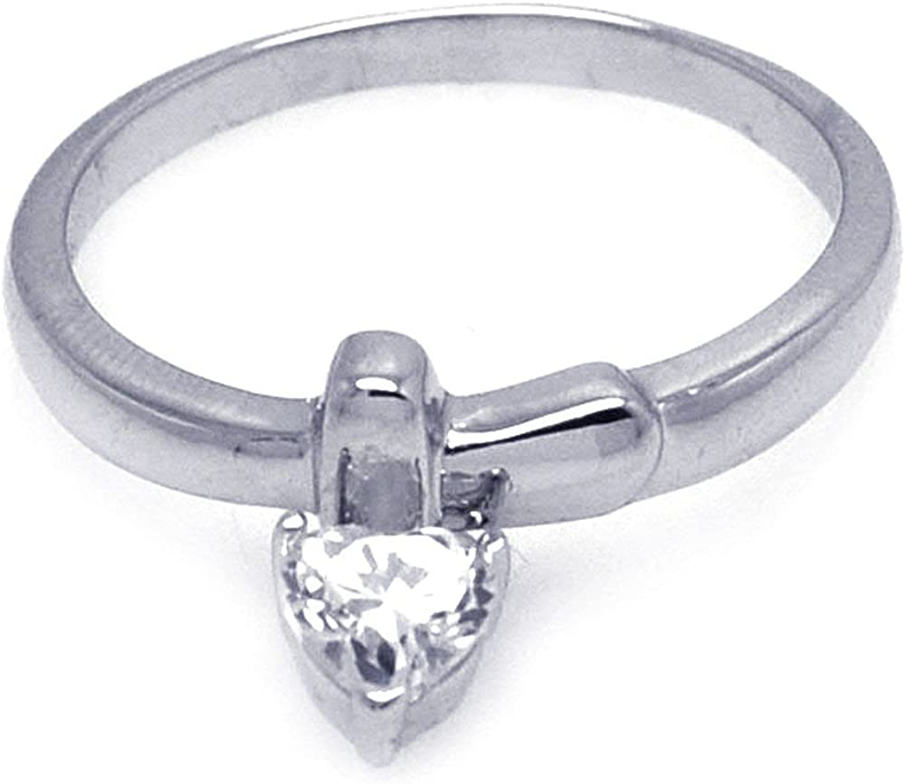 Princess Kylie Cubic Zirconia Dangle Heart Design Ring Rhodium Plated Sterling Silver