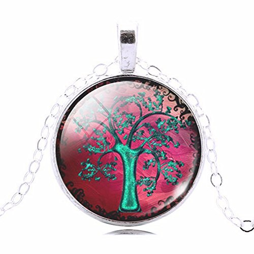 Fuchsia Pink Sky Green Tree Glass Cabochon Art Picture Round Pendant Necklace, 20 - 22 - Sillouette Glasses