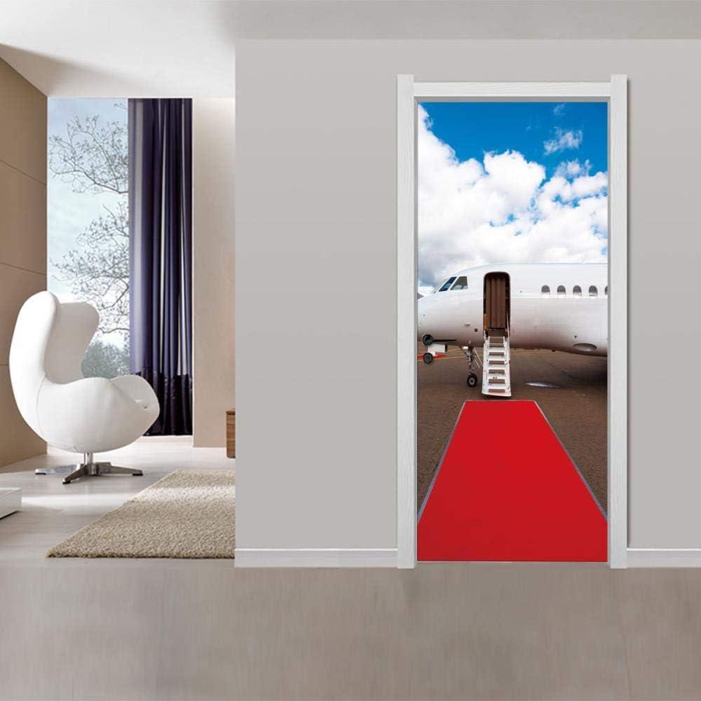 FCFLXJ 3D autocollant de porte murale Art papier peint Avion de voyage tapis rouge affiche autocollants 2 pi/èces//ensemble auto-adh/ésif amovible maison porte d/écalcomanies salon chambre 3D S 77*200CM