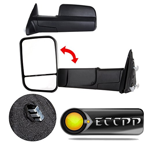 ECCPP Tow Mirrors for 2009-2015 Dodge Ram Truck Pickup Black Manual Towing Side View Mirrors Pair Passenger & Driver Side