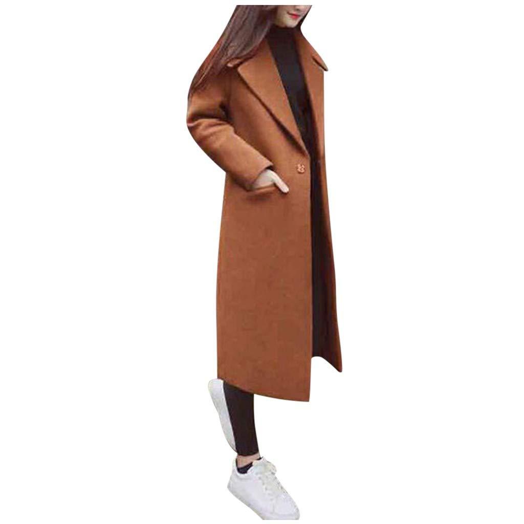 Eoeth Women Woolen Jacket Coat Overcoat Casual Solid Vintage Winter Office Long Sleeve Button Work Blouse Windbreaker Brown by Eoeth