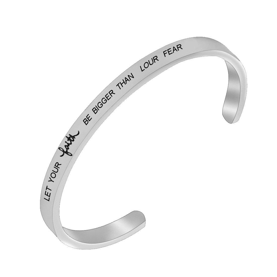 REEBOOO Christian Bracelet Faith Bracelet Let your Faith be bigger than your fear Gift For Her (Let your faith-Silver-CB)