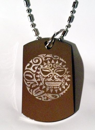 SUN Moon Star Celestial Celtic Tribal Tattoo Logo Symbols - Military Dog Tag Luggage Tag Key Chain Metal Chain Necklace - Moon Tribal Tattoos