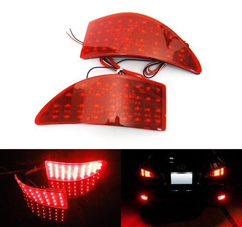 2x Red Lens Rear Bumper Reflector LED Fog Tail Stop Brake Light DRL For 2005-13 IS MK II 220d 250 300 350 XE20