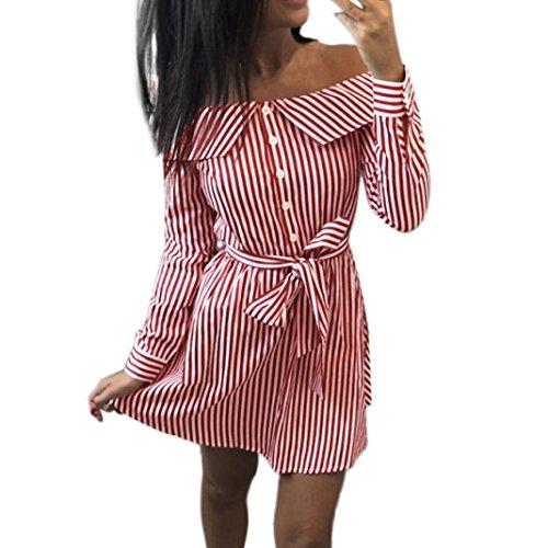 Mini a Rosso Abito Righe lunghe Corti a Hot Gonna Estivo a Casual da Vestito Camicia da Bassa Eleganti Donna Corto Bellissimo Cerimonia Maniche Sonnena Abito Donna Donna da Vita Zfqnfd71w