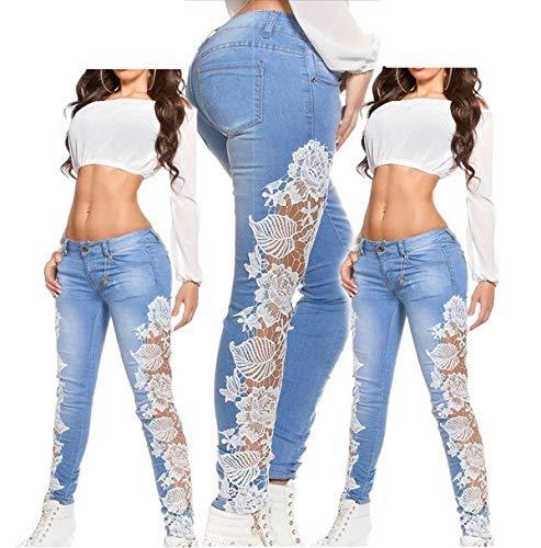 Creux Femme Skinny Mode Casual Longue Blanc Pantalons Onlyoustyle pissure Dentelle Pantalon Pants Crayon Jeans Denim wqIHWZ
