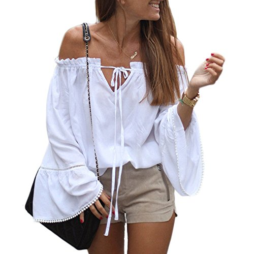 Women's Off Shoulder Top Long Sleeve Strapless Casual Loose Blouse(S)