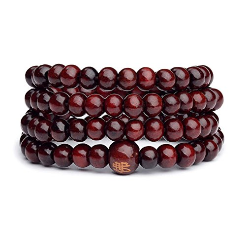 Vintage Wooden 108 Bead Bracelet by MayaBracelets (Dark Red) (Vintage Wooden Bead)