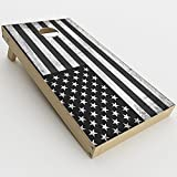 #9: Skin Decal Vinyl Wrap for Cornhole Game Board Bag Toss (2xpcs.) Skins Stickers Cover/Black White Grunge Flag USA America