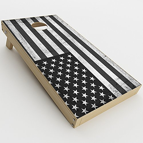 Skin Decal Vinyl Wrap for Cornhole Game Board Bag Toss (2xpcs.) Skins Stickers Cover/Black White Grunge Flag USA America]()