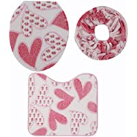 Toilet Seat Set,Hmane 3Pcs Coral Fleece Rose Pattern Closestool Mat Toilet Seat Set Cover Carpet--Pink