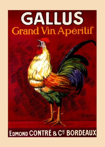 Rooster Gallus Grand Vin Wine Aperitif Bordeaux France French By Cappiello 12
