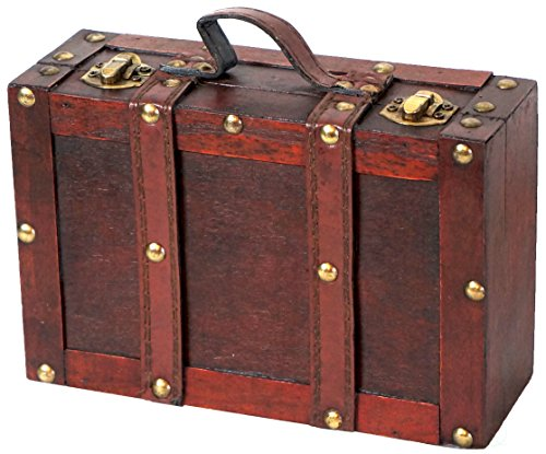 Old Box - Vintiquewise(TM) Old-Fashioned Small Suitcase/Decorative Box with Straps