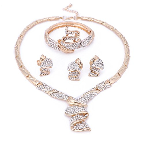 OUHE 18K Wedding Jewelry Sets for Brides, Gold Jewelry Sets for Women - Gold Plated Crystal Necklace Earrings Ring Bracelet -