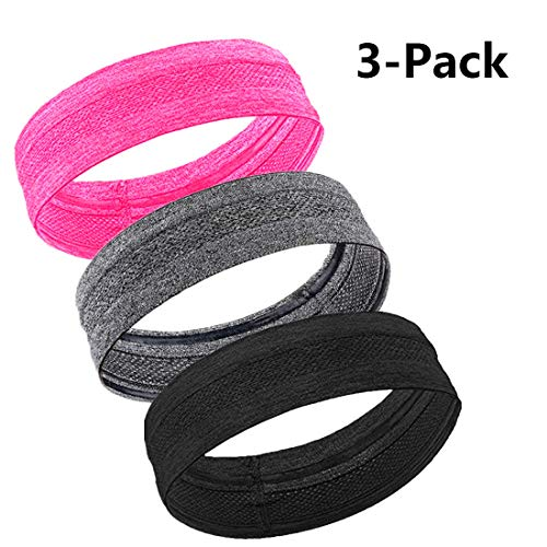 MIRKOO Workout Headbands for Women Men, Moisture Wicking Non-slip Sweatbands, Quick-Dry Soft Stretchy Bandana Headband for Running Yoga Sports Fitness Workout Exercise Travel Working (Black&Gray&Pink)