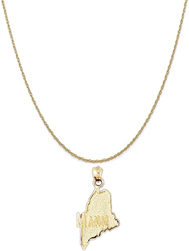 14k Yellow Gold Sold Pendant on a 14K Yellow Gold Rope Box or Curb Chain Necklace