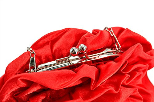 Bolsa De Embrague Festivo Nueva Flor Bolso De La Cena Bolsa De Satén De Seda De La Novia La Dama De Honor Red