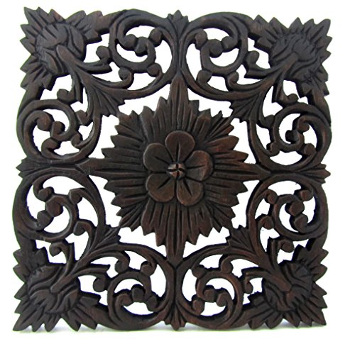 Carved Wood Wall Art Panel Teak Carvings Decor for Living Room (Starburst) (Asian Wall Plaques)