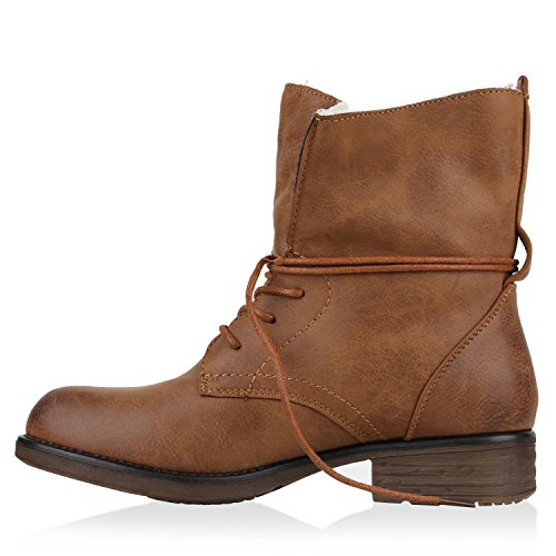 Damen Schuhe Worker Boots Warm gefüttert mit Blockabsatz Flandell Braun