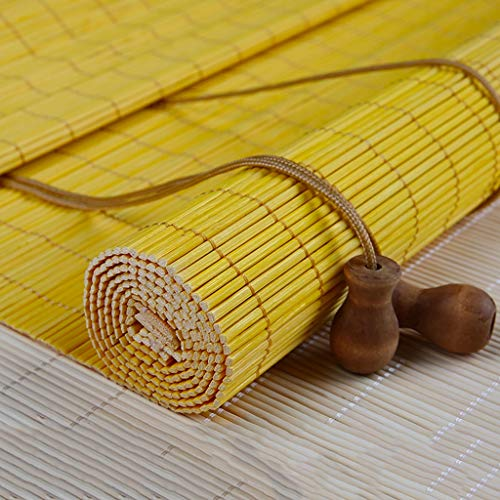 ZAQ Roller Shades for Doors, Bamboo Roll up Window Blind Sun Shade for Garden,Patio,Gallery,Balcony, Yellow (Size : 140×210cm) from ZAQ